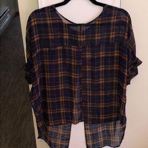Sheer plaid Topshop blouse